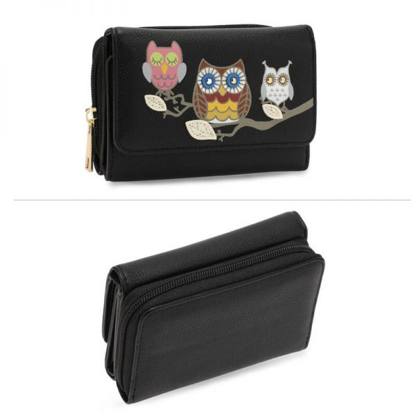 AGP1101 – Black Flap Owl Design Purse Wallet_3_
