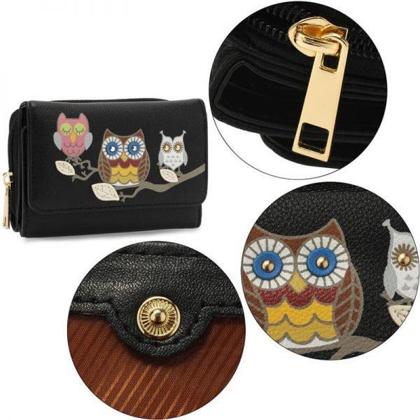 AGP1101 – Black Flap Owl Design Purse Wallet_5_