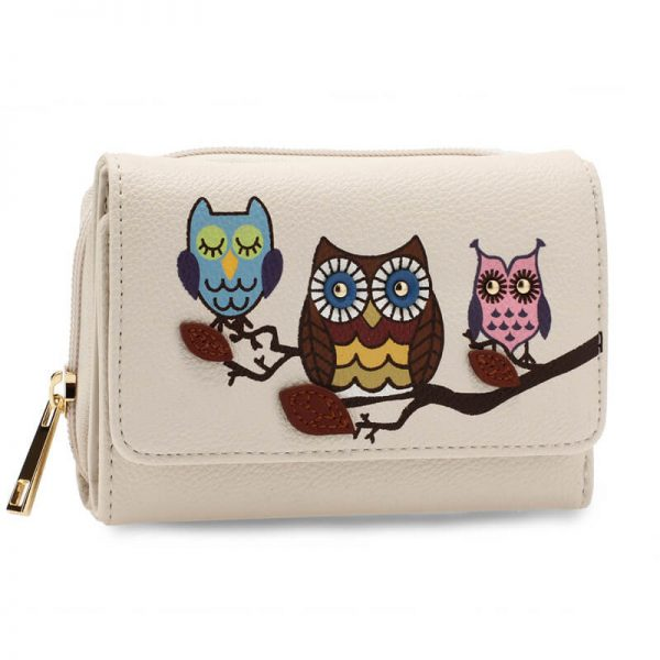 AGP1101 – Ivory Flap Owl Design Purse Wallet