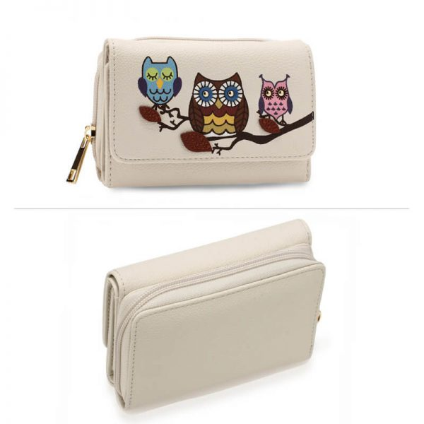 AGP1101 – Ivory Flap Owl Design Purse Wallet_3_