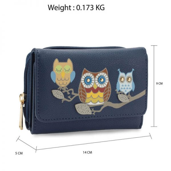 AGP1101 – Navy Flap Owl Design Purse Wallet_2_