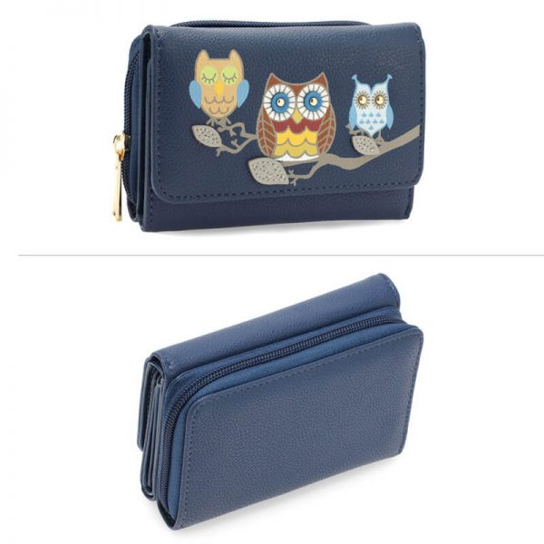 AGP1101 – Navy Flap Owl Design Purse Walle_3_