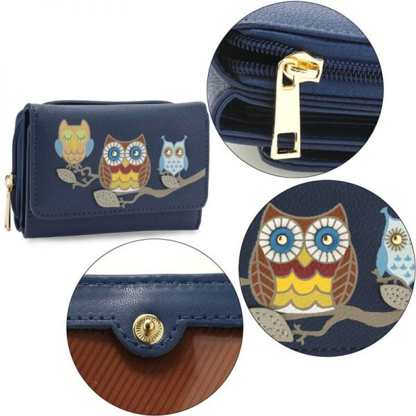 AGP1101 – Navy Flap Owl Design Purse Walle_5_