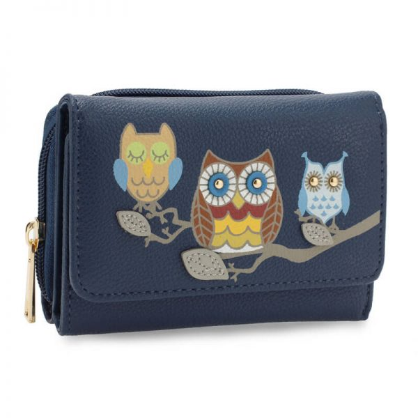 AGP1101 – Navy Flap Owl Design Purse Wallet_1_