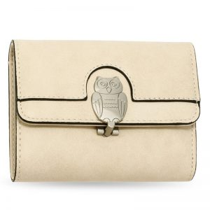 Beige Flap Metal Owl Design Purse Wallet