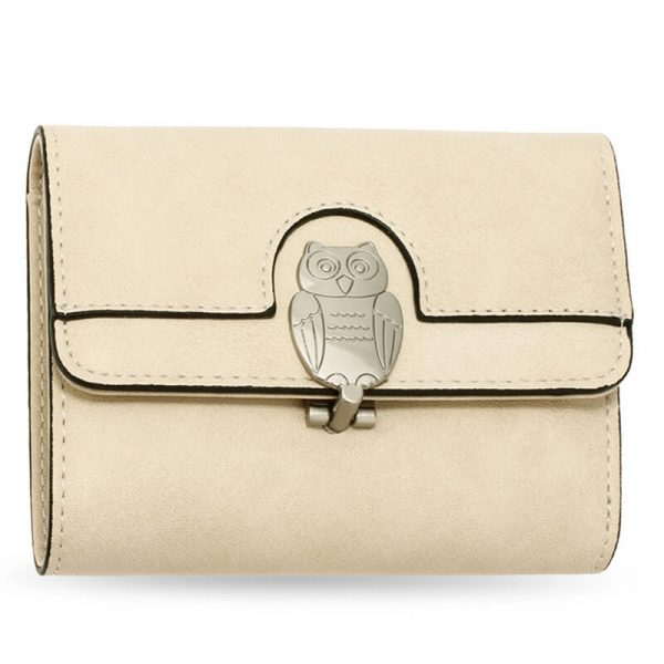 AGP1102 – Beige Flap Metal Owl Design Purse Wallet_1_