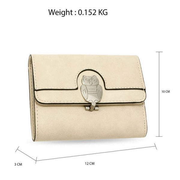 AGP1102 – Beige Flap Metal Owl Design Purse Wallet_2_