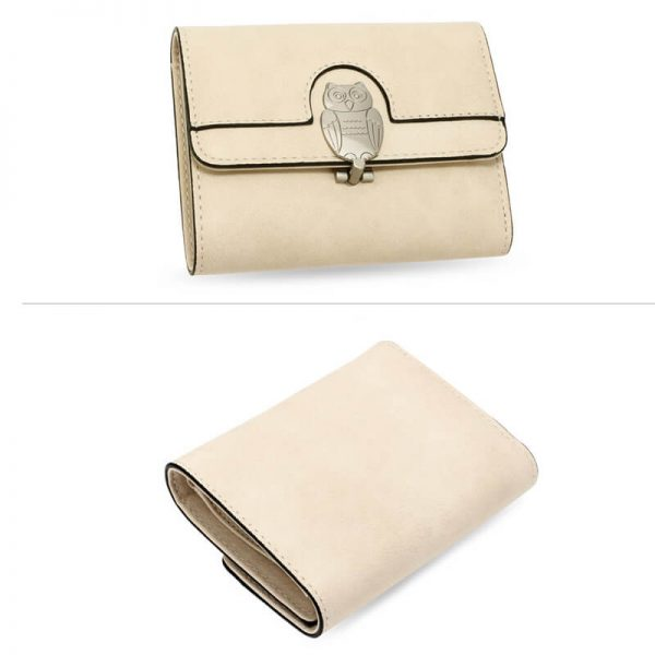 AGP1102 – Beige Flap Metal Owl Design Purse Wallet_3_