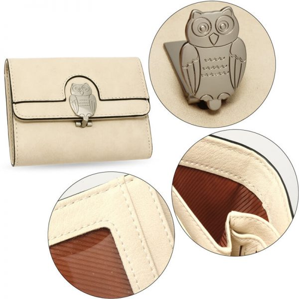AGP1102 – Beige Flap Metal Owl Design Purse Wallet_5_