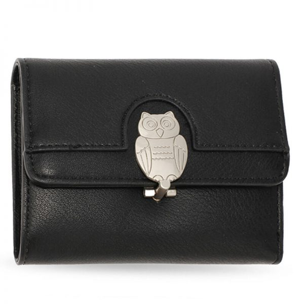 AGP1102 – Black Flap Metal Owl Design Purse Wallet_1_