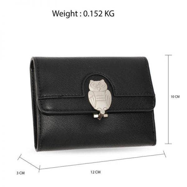 AGP1102 – Black Flap Metal Owl Design Purse Wallet_2_