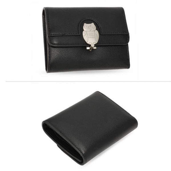 AGP1102 – Black Flap Metal Owl Design Purse Wallet_3_