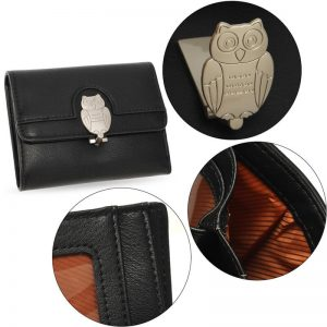 Black Flap Metal Owl Design Purse Wallet