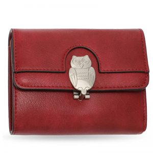 Burgundy Flap Metal Owl Design Purse Wallet