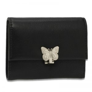 Black Flap Metal Butterfly Design Purse Wallet