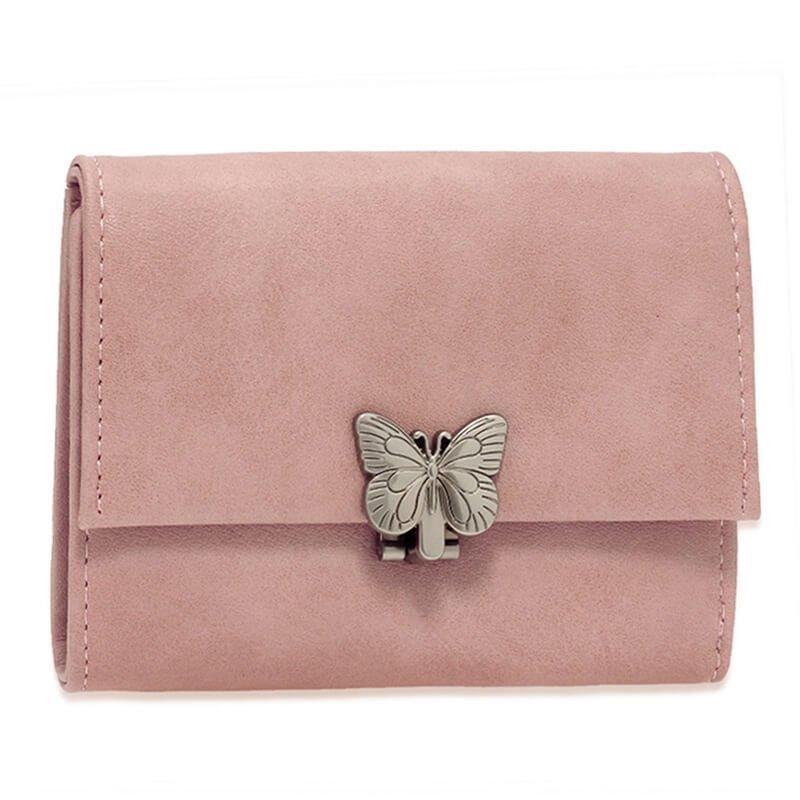 Pink Flap Metal Butterfly Design Purse Wallet