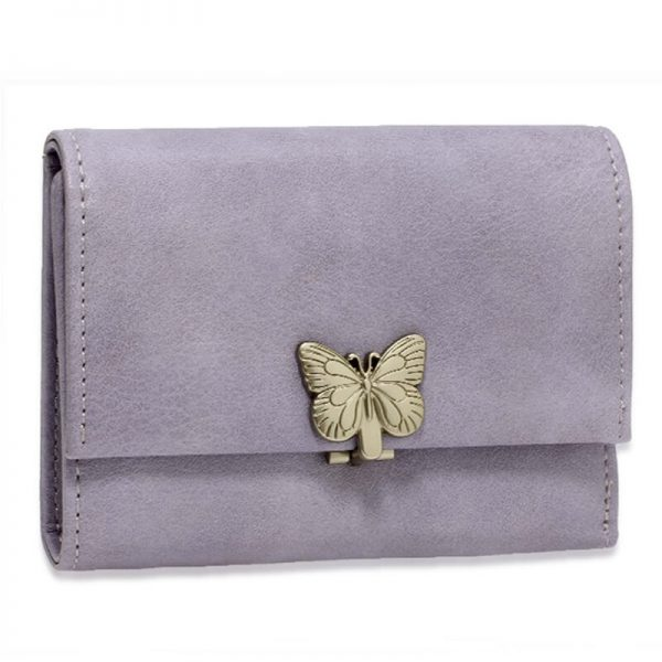 AGP1103 – Purple Flap Metal Butterfly Design Purse Wallet_1_