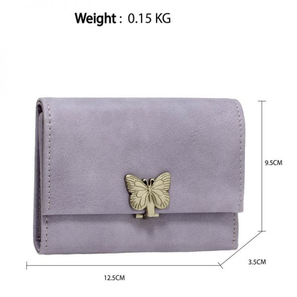 AGP1103 – Purple Flap Metal Butterfly Design Purse Wallet_2_