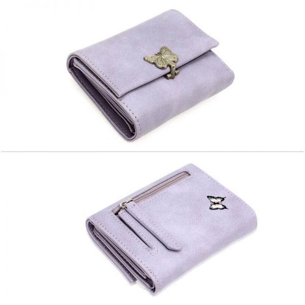 AGP1103 – Purple Flap Metal Butterfly Design Purse Wallet_3_