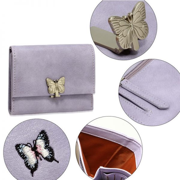 AGP1103 – Purple Flap Metal Butterfly Design Purse Wallet_5_