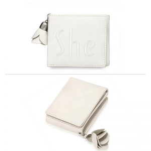 Ivory Trifold Purse Wallet With Charm