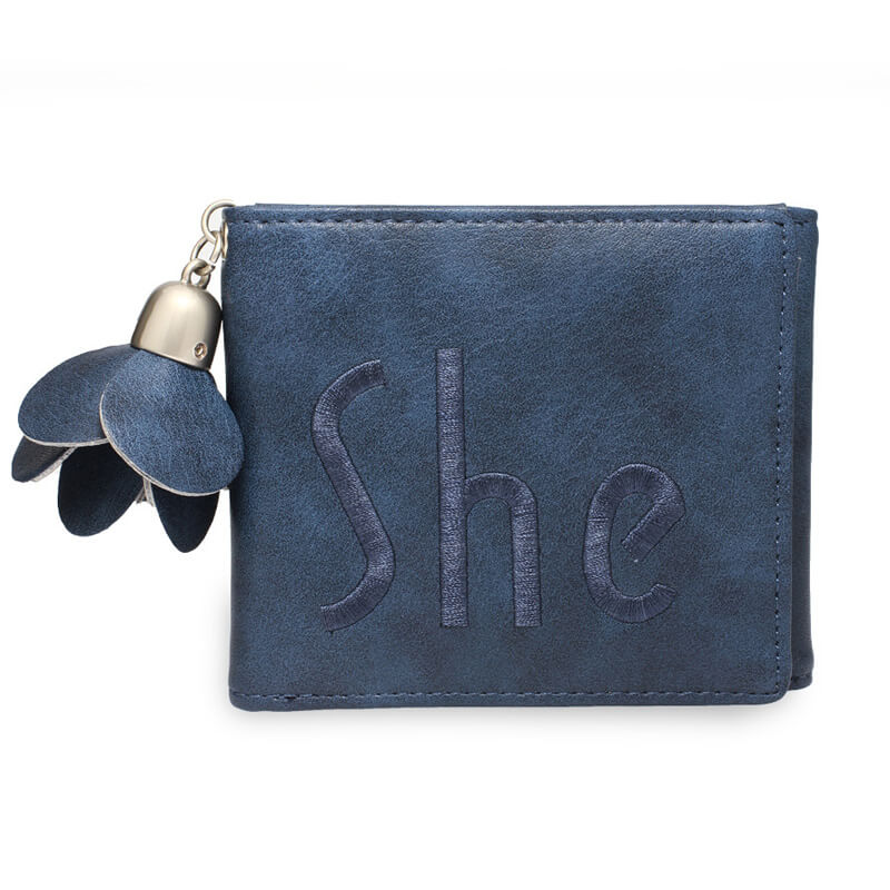Navy Trifold Purse Wallet With Charm