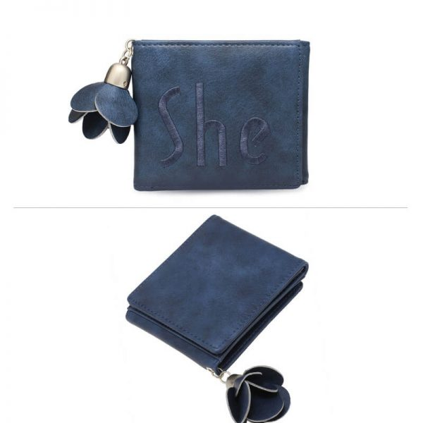 AGP1104 – Navy Trifold Purse Wallet With Charm_3_