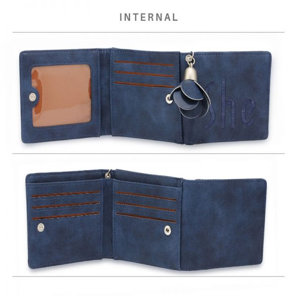 AGP1104 – Navy Trifold Purse Wallet With Charm_4_