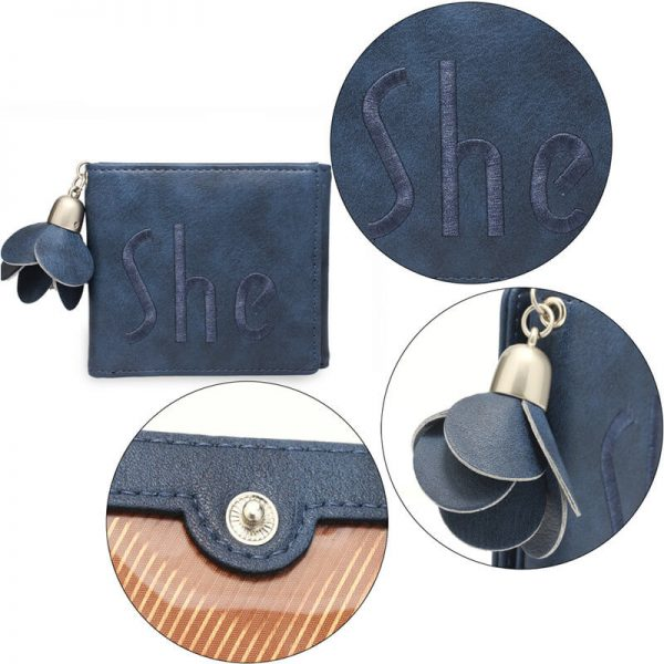 AGP1104 – Navy Trifold Purse Wallet With Charm_5_