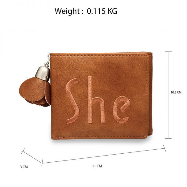 AGP1104 – Tan Trifold Purse Wallet With Charm_2_