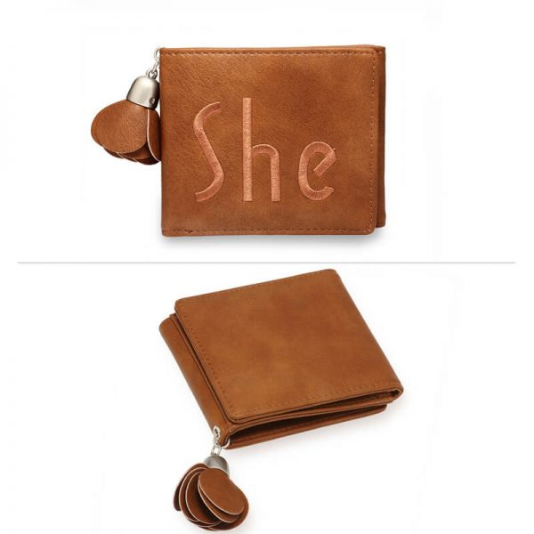 AGP1104 – Tan Trifold Purse Wallet With Charm_3_