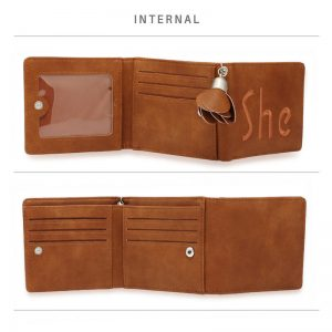 Tan Trifold Purse Wallet With Charm