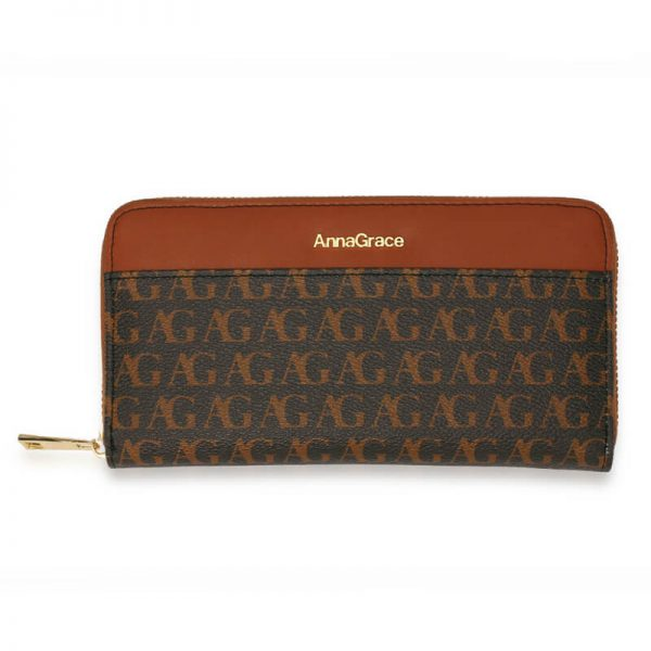 AGP1107 – Black Anna Grace Print Zip Around Purse Wallet