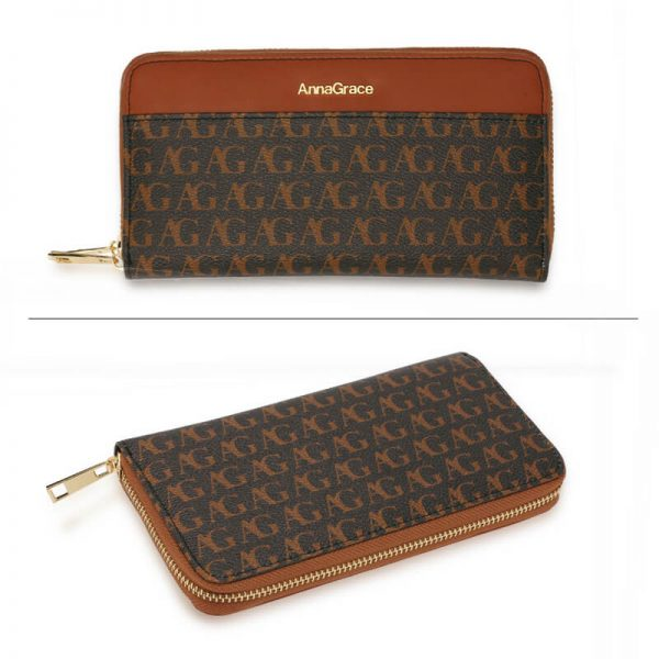 AGP1107 – Black Anna Grace Print Zip Around Purse Wallet_3_