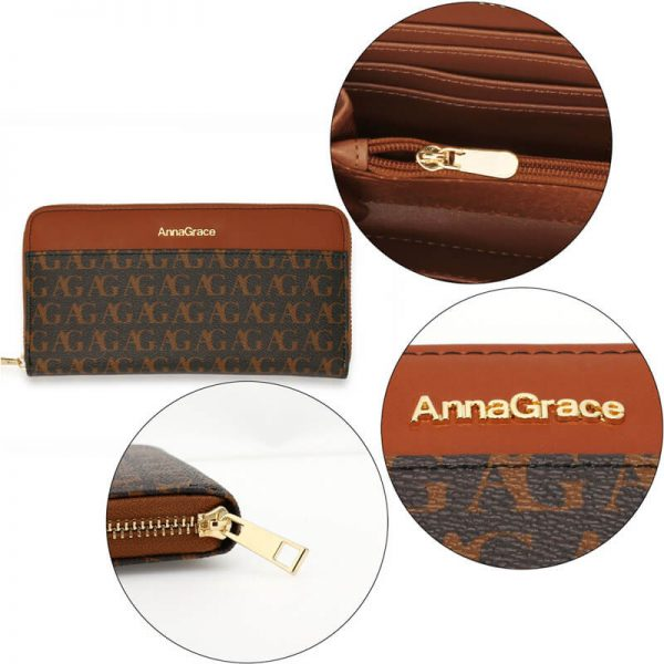 AGP1107 – Black Anna Grace Print Zip Around Purse Wallet_5_