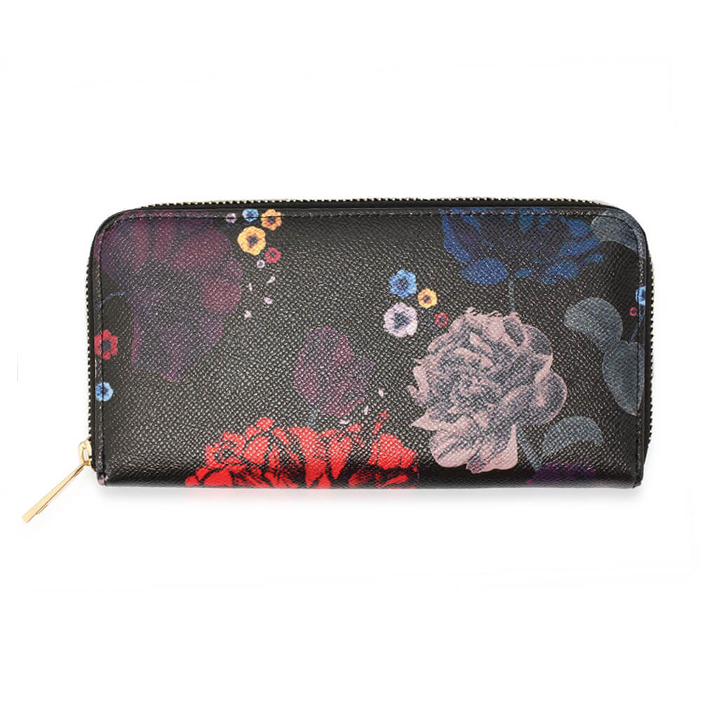 Black Floral Print Zip Around Purse Wallet