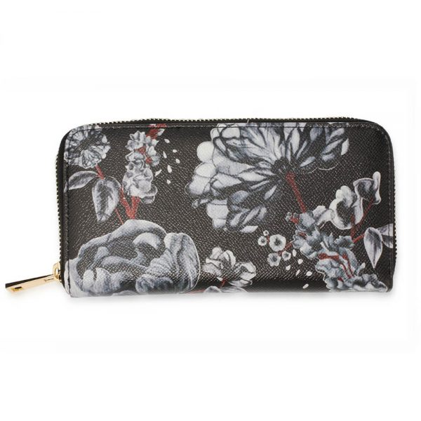 AGP1108 – Black White Floral Print Zip Around Purse Wallet_1_