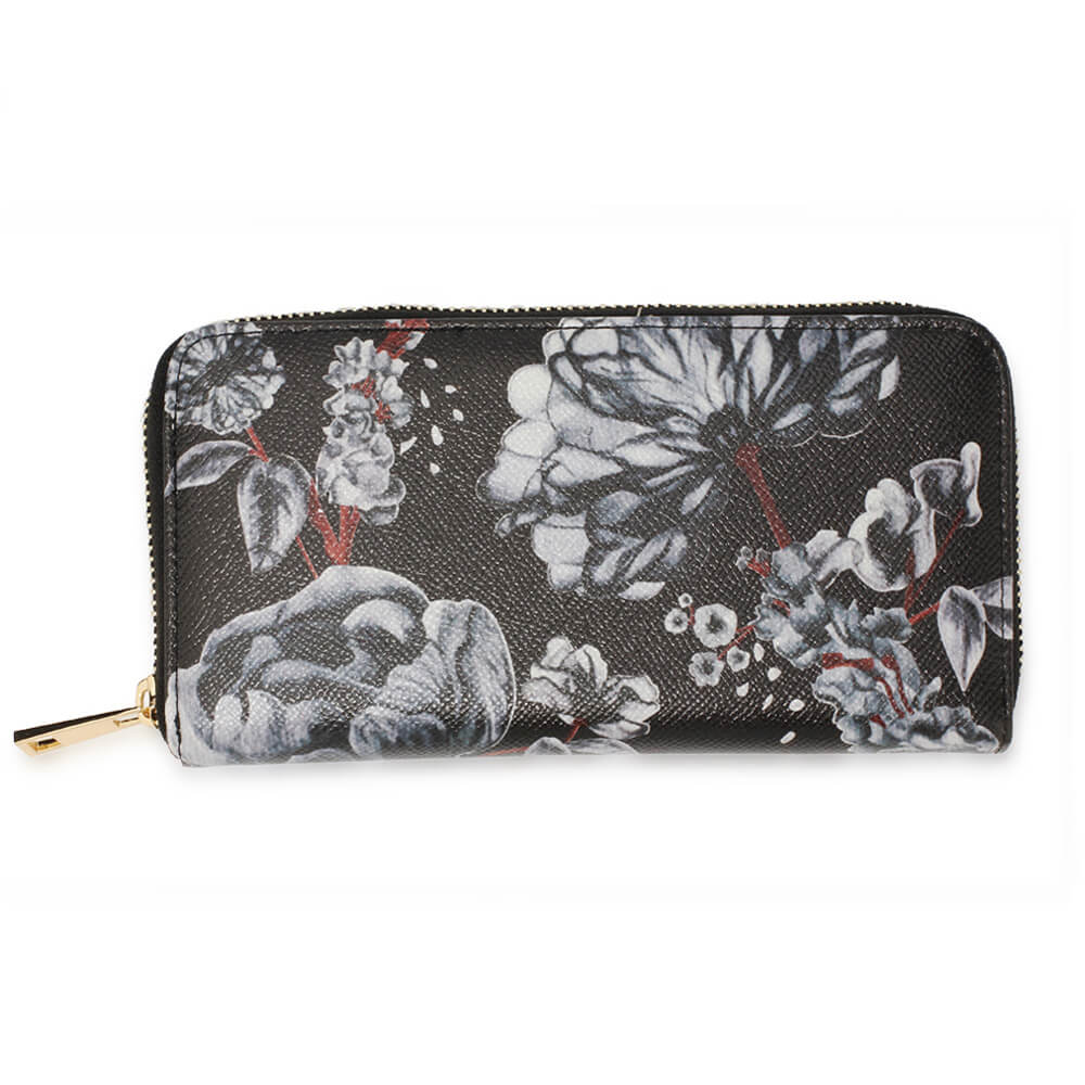 Black White Floral Print Zip Around Purse Wallet