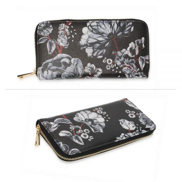 AGP1108 – Black White Floral Print Zip Around Purse Wallet_3_