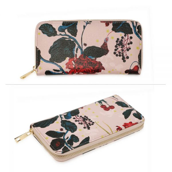 AGP1108 – Pink Floral Print Zip Around Purse Wallet_3_