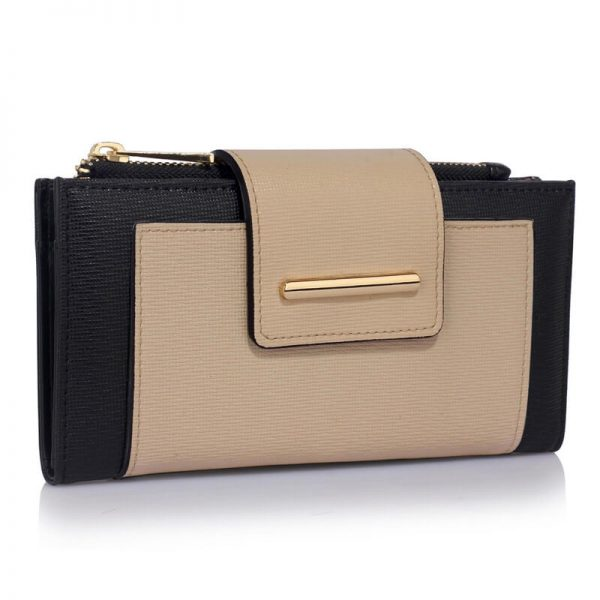 LSP1079-BLACK_NUDE_Flap Top Zip Purse Wallet_1_