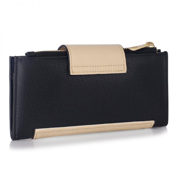 LSP1079-BLACK_NUDE_Flap Top Zip Purse Wallet_2_
