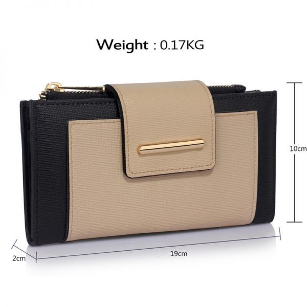 LSP1079-BLACK_NUDE_Flap Top Zip Purse Wallet_4_