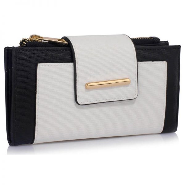 LSP1079-BLACK_White_Flap Top Zip Purse Wallet_1_