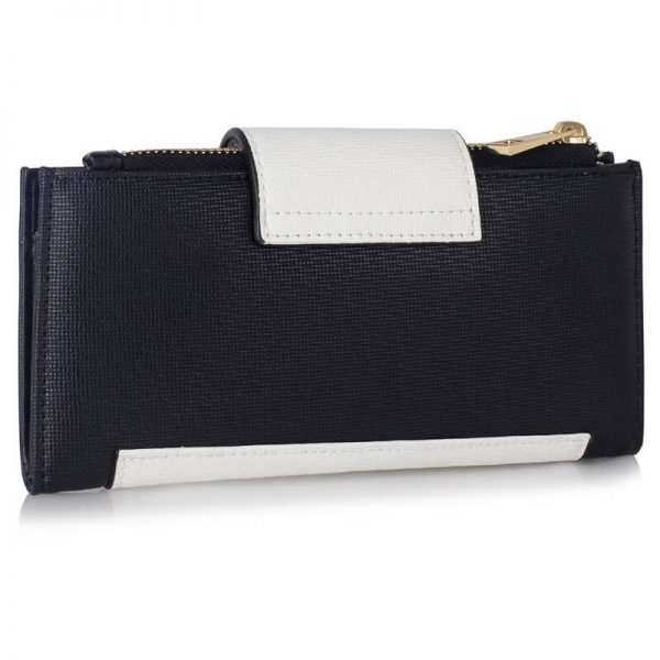 LSP1079-BLACK_White_Flap Top Zip Purse Wallet_2_