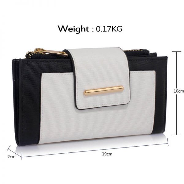 LSP1079-BLACK_White_Flap Top Zip Purse Wallet_4_