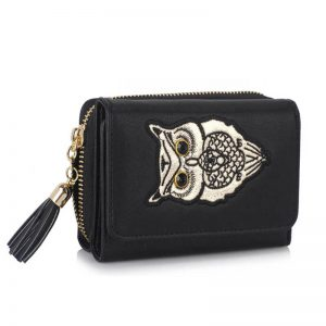 Black Owl Design Purse Wallet