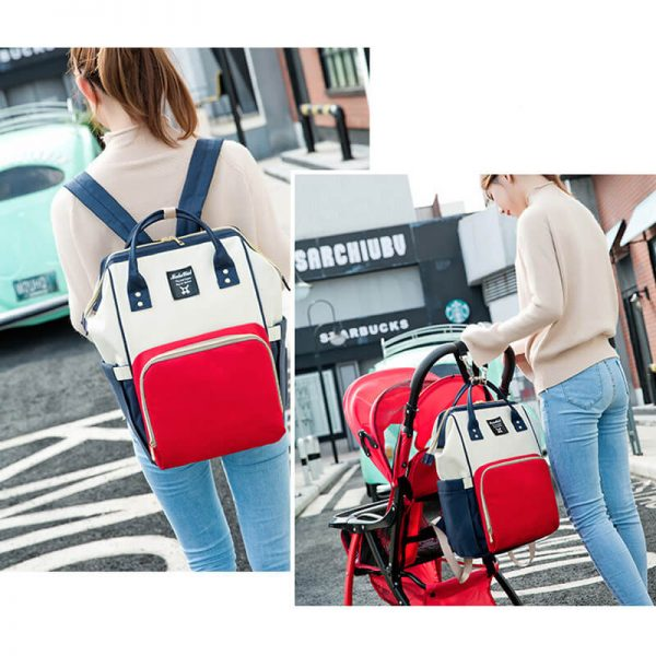 Red White Navy Moms Backpack——–