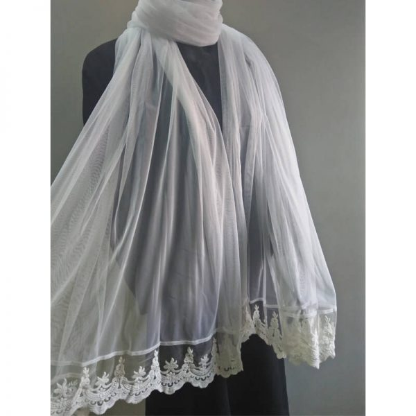 ZD54 -1 White Net Dupatta With Lace On Bottoms