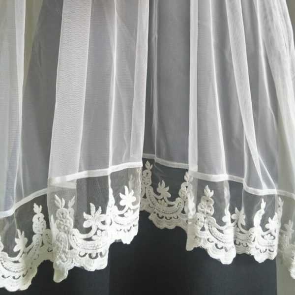 ZD54-3 White Net Dupatta With Lace On Bottoms